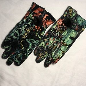 Accessories - Hand Painted Suede Gloves